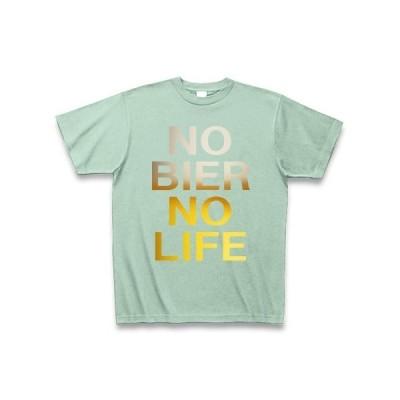 NO BIER NO LIFE(ビール色) Tシャツ Pure Color Print(アイスグリーン)