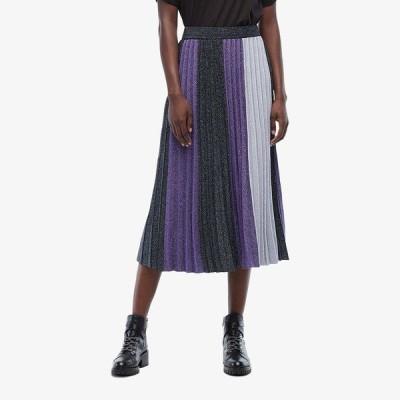 デレクラムテンクロスバイ スカート ボトムス レディース Color Blocked Pleated Skirt Blue Multi