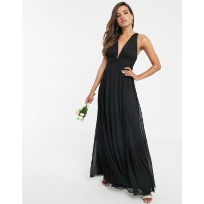 エイソス ASOS DESIGN レディース ワンピース ラップドレス マキシ丈 Bridesmaid ruched bodice drape maxi dress with wrap waist ブラック