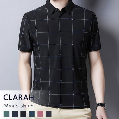 ポロシャツ メンズ ゴルフウェア スリム シンプル 柄シャツ トップス 半袖 カジュアル ネコポス送料無料