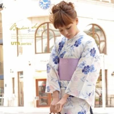 浴衣セット レディース レトロ 作り帯 浴衣セット 大人 3点セット 白系 ホワイト 紫 撫子 花 綿 ラメ 女性 ボヌールセゾン フリー