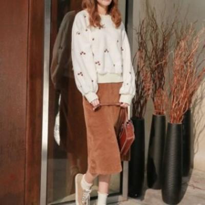 今季トレンド ニット セーター トップス 刺繍 ガーリー カジュアル ふんわり 可愛い 女子会 デート 通学 hf0597