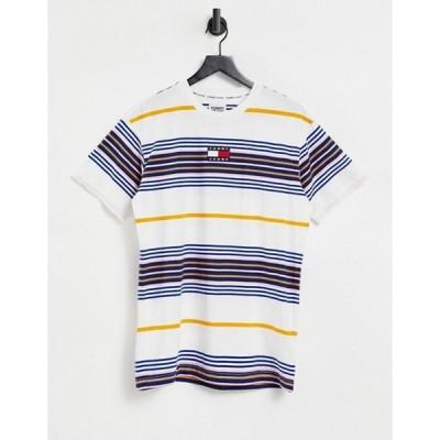 トミー ヒルフィガー メンズ シャツ トップス Tommy Jeans center badge stripe t-shirt in white multi