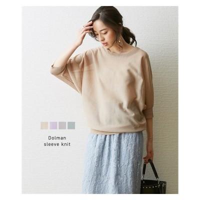 セーター ニット レディース ほどよい透け感 可愛い ドルマンスリーブ M/L ニッセン nissen