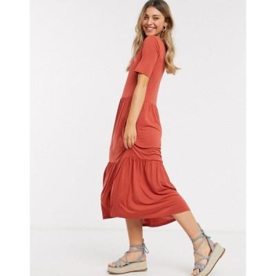 ジェイディーワイ レディース ワンピース トップス JDY smock midi dress in red Red