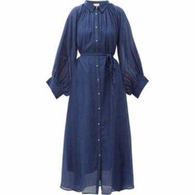 アナーク Anaak レディース ワンピース シャツワンピース ワンピース・ドレス Cleo balloon-sleeve cotton-blend midi shirt dress Navy