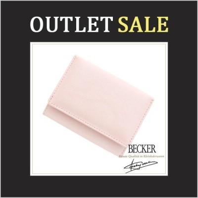 アウトレット 極小財布 ミニ財布 三つ折り BECKER ベッカー シャイニー メタリック シープスキン 羊革 本革 オーロラピンク 日本製