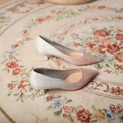 パンプス レディース 通勤 コンフォート ミドルヒール 5cmヒール ポインテッド 無地 パーティー 結婚式 二次会 カジュアル お出かけ