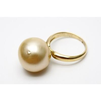 南洋白蝶真珠パールリング【指輪】 15×14mm ナチュラルゴールドカラー シルバー製リング枠