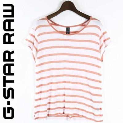 ジースターロウ G-Star RAW Tシャツ カットソー レディース マリンボーダー 薄手 フレンチスリーブ 半袖 CORRECT ENGINE RT