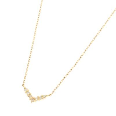 ココシュニック COCOSHNIK K18ダイヤモンド Vネックレス (イエローゴールド)