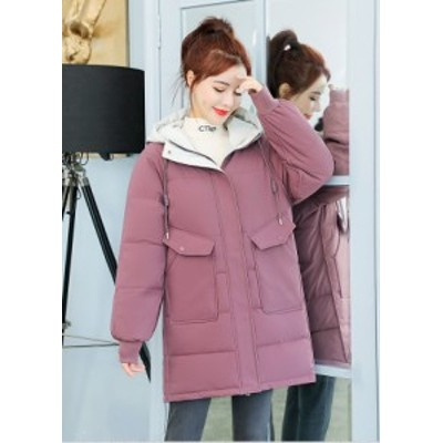 ダウンジャケット レディース ミディアム丈 大きいサイズ ゆったり ブラック ピンク ホワイト グリーン ビッグシルエット オーバサイズ