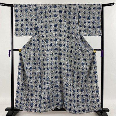 小紋 秀品 幾何学 花柄 縮緬 藍色 袷 身丈160cm 裄丈63cm S 正絹 中古