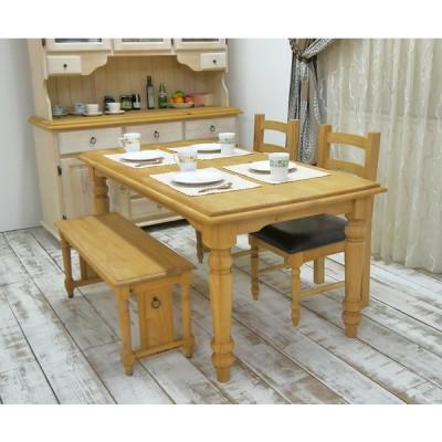 無垢木製のカントリー調ダイニングテーブルセット4〜5人用 160cm幅テーブル チェアGAN1CB2脚・ベンチ100セット