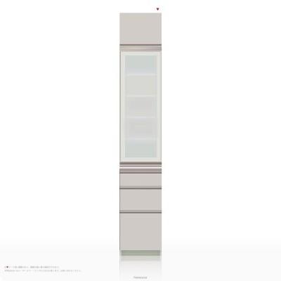 上棚付き食器棚 キッチンボード パモウナ IEシリーズ IE-S400KR [開き扉] (幅40cm, 奥行き45cm, 右開き仕様, シルキーアッシュ色)