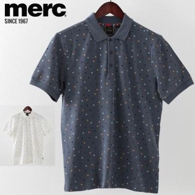 メルクロンドン Merc London ポロシャツ ポロ ドットプリント W1 プレミアム 2色 オフホワイト スティールブルー メンズ