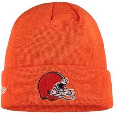 ニューエラ メンズ 帽子 アクセサリー Cleveland Browns New Era Helmet Basic Cuffed Knit Hat Orange