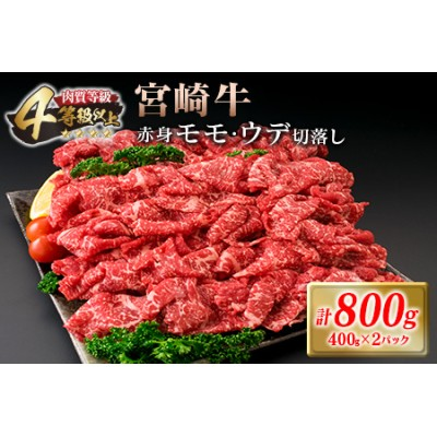 CC16-20 肉≪人気の赤身!!≫宮崎牛赤身モモ・ウデ切落しセット(計800g)