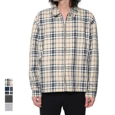 ジャケット ブルゾン ジャンパー スウィングトップジャケット カジュアル チェック ライトアウター 薄手 アウター メンズ