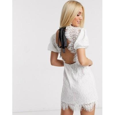 ラブトライアングル レディース ワンピース トップス Love Triangle lace mini dress with puff sleeve in white