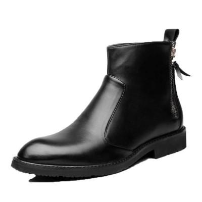 ショートブーツ 革靴 レザー メンズ インヒール チェルシーブーツ ロングノーズ 紳士靴 ビジネス 裏起毛 ボア付き