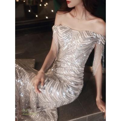 パーティードレス ワンピース ウェディングドレス 結婚式 成人式 パーティー 花嫁ロングドレスお呼ばれ 挙式 演奏会 オフショルダー スパン