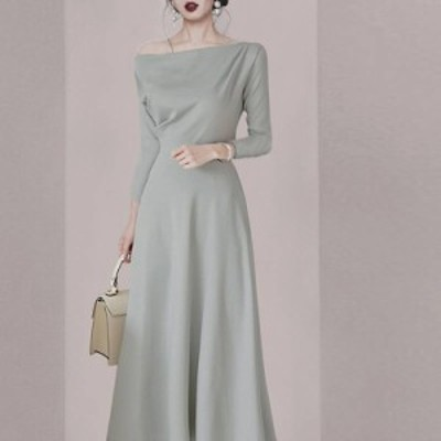 ドレス シフォンドレス ロングワンピース ロングワンピ 大きいサイズ オフショルダー Aライン 無地 ミモレ丈 シンプル ワンピ レディース
