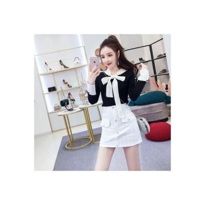 【送料無料】気質 女神 モデル セット 女 秋 ファッション リボン 長袖セーター トップス ハイウ | 346770_A63740-6642857