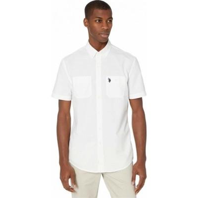 ユーエスポロアッスン U.S. POLO ASSN. メンズ シャツ トップス Two Pocket Slub Plaid Woven Optic White