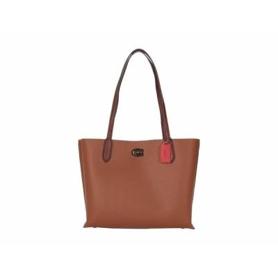 コーチ ハンドバッグ バッグ レディース Color-Block Leather with Coated Canvas Signature Interior Willow Tote Saddle Multi