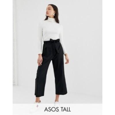 エイソス レディース カジュアルパンツ ボトムス ASOS DESIGN Tall Linen Tie Waist Culotte Black