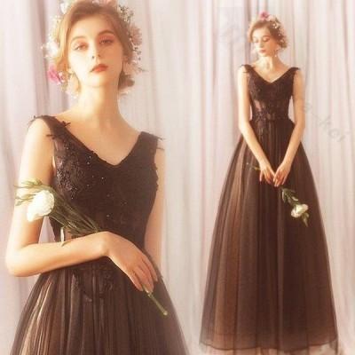ドレス 二次会 結婚式 女性 ブラック Vネックライン ハートカット 編み上げタイプ 刺繍 透け感 スレンダーライン ロングドレス 演奏会 パーティー