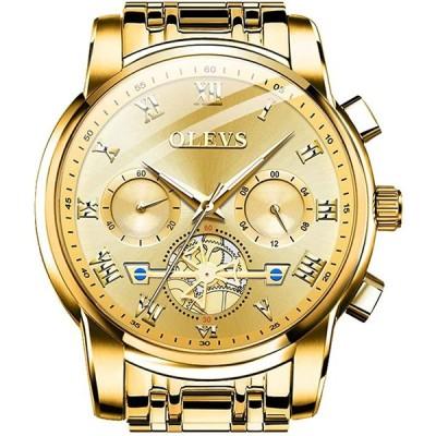OLEVS クラシック ビッグフェイス 腕時計 メンズ ビジネスウォッチ ドレスウォッチ デイ グリーン/ブラック/ホワイト/ブルーフェイス フライホイール 多機能 夜