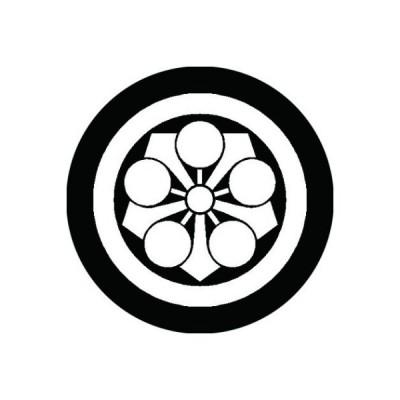 家紋シール 白紋黒地 丸に剣梅鉢 布タイプ 直径23mm 6枚セット NS23-0523W