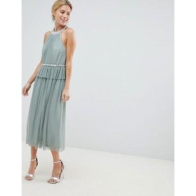 エイソス レディース ワンピース トップス ASOS DESIGN embellished neck tulle midi dress Mint