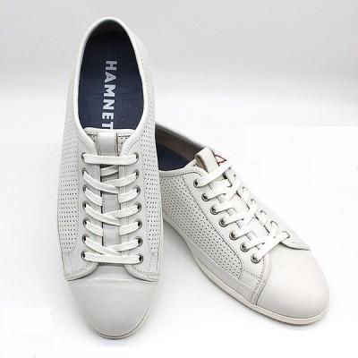 即日発送可 ポイント15倍 ハムネット HAMNETT 37052 靴 本革 レザー スニーカー カジュアルシューズ メンズ 紳士 白 ホワイト