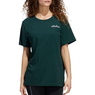 アディダス adidas レディース Tシャツ トップス adiScript Boyfriend T-Shirt Green Night