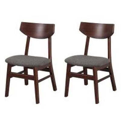10%OFFクーポン対象商品 ダイニングチェア 2脚セット 座面高42cm 木製 天然木 チェア 椅子 ファブリック ブラウン クーポンコード:7CLY8DW