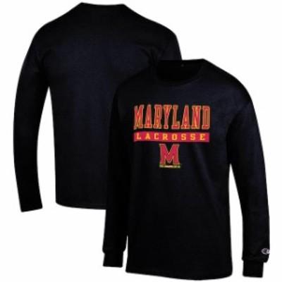 Champion チャンピオン スポーツ用品  Champion Maryland Terrapins Black Lacrosse Lockup Long Sleeve T-Shirt