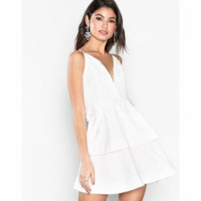 ミスガイデッド パーティードレス crochet double layer plunge dress White