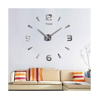 SIEMOO 大型DIY壁掛け時計キット 3Dモダンフレームレス壁掛け時計 ミラー番号ステッカー付き 自宅 リビングルーム ベッドルーム オフィスの装