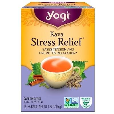 ストレス緩和カワカワ(カバ)(Kava Stress Relief), カフェインフリー, 16ティーバッグ, 1.27 oz (36 g)