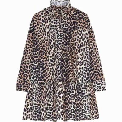 ガニー GANNI レディース ワンピース ワンピース・ドレス Animal Print Ruffle Collar Long Sleeve Organic Cotton Poplin Dress Leopard