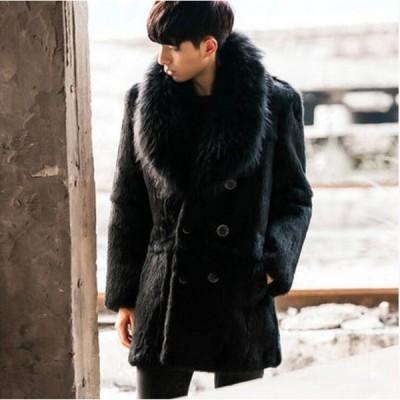 男性 オシャレ ショートコート ファーコート 毛皮コート 暖かい アウター 毛皮ジャケット フェイクファー メンズ 防寒コート カジュアル かっこいい