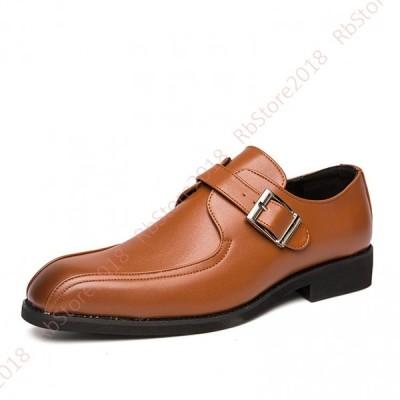 ストレートチップ ビジネスシューズ 革靴 ベルト スリッポン メンズシューズ モンクストラップ スクエアトゥ ドレスシューズ ローファー 防滑 気持ちいい