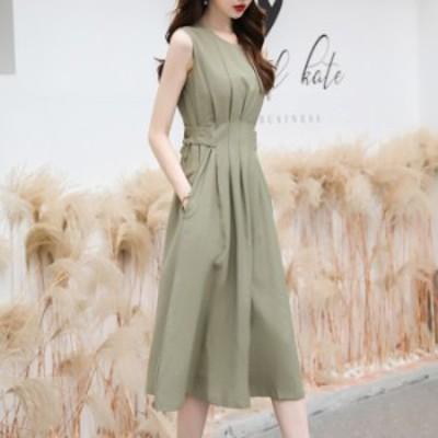 グリーン ドレス ロング丈