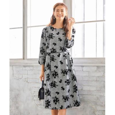 大きいサイズ フロッキーフラワープリントチェック柄ワンピース(アリスバーリー)(OtonaSMILE) ,スマイルランド, ワンピース, plus size dress