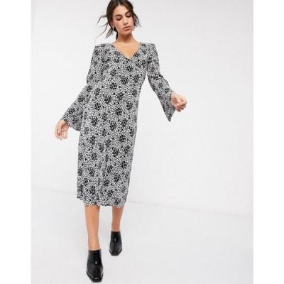 エイソス ASOS DESIGN レディース ワンピース ワンピース・ドレス Asos Design Plisse Midi Dress With Tie Back In Black And White Floral Print