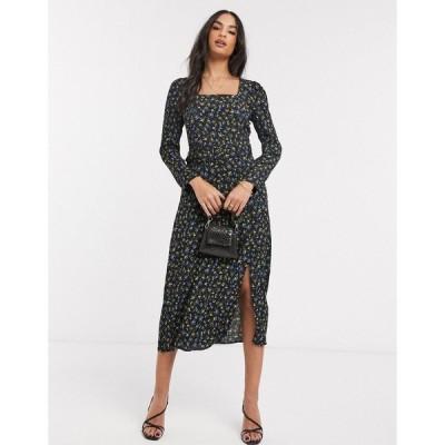 ウエアハウス レディース ワンピース トップス Warehouse ditsy square neck midi dress in black Multi
