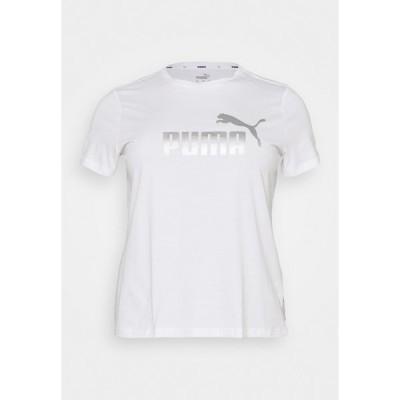 プーマ Tシャツ レディース トップス METALLIC LOGO TEE PLUS SIZE - Print T-shirt - white/silver